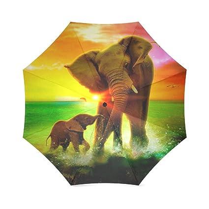 Nueva llegada verano anti-UV paraguas resistente al viento Cute elefante sol paraguas para sunny