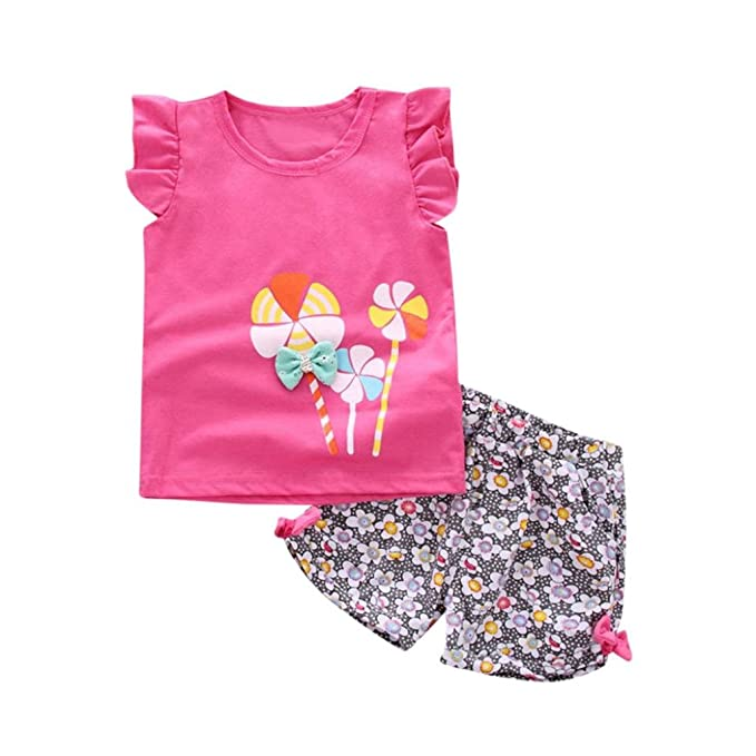2PCS Toddler Kids Baby Girl T-Shirt Tops+Floral Pants Casual Outfit Clothes Set