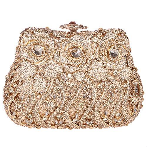 - Fawziya Rose Clutch Purse Luxury Crystal Evening Clutch Bags-Smoky Yellow