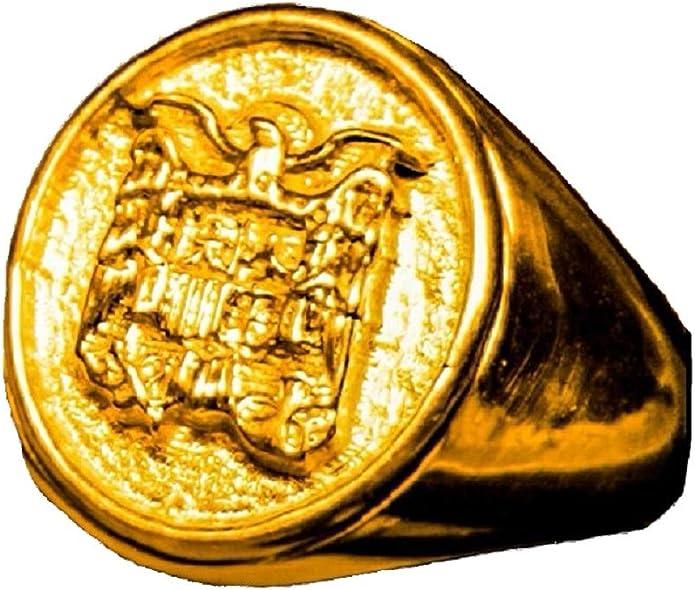 Double Eight Anillo Escudo ESPAÑA Aguila San Juan BAÑADO Oro 18K ...