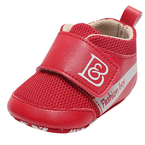Respctful✿Baby Boys Breathable Mesh Walker Shoes for Casual Non Slip Outdoor Sneakers Red