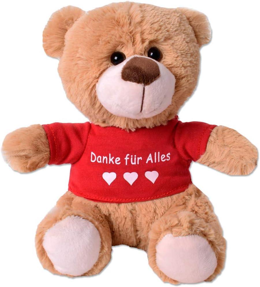 TE-Trend Teddyb/är Teddy Pl/üsch B/är Pl/üschteddyb/är Kuscheltier T-Shirt Spruchb/är 25cm Geschenk Hellbraun Danke f/ür Alles