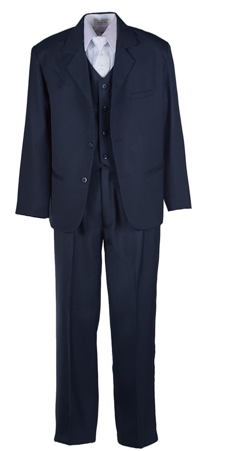 Boys Husky Navy Blue Suit with Vest and Communion Cross Tie