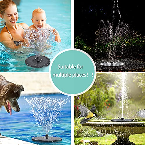 2021 New 3.5W Solar Fountain Pump for Bird Bath,Built-in 2000mAh Battery Solar Powered Water Fountain Pump,24 LED Lights Solar Water Pump Floating Fountain with 7 Water Styles for Garden,Pool,Outdoor