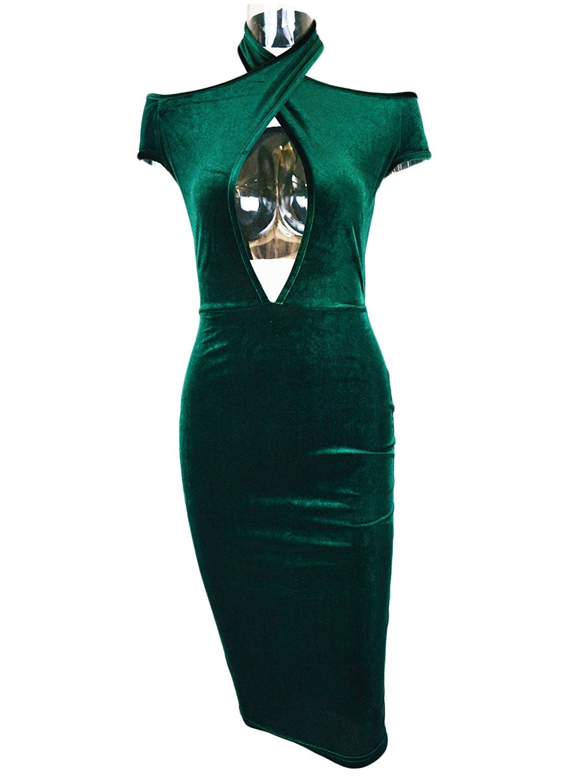 Women\'s Sexy Halter Off The Shoulder Velvet Midi Club Bodycon Dress Dark Green L