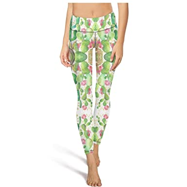 de8b7622e9 Ukjdahff High Waisted Yoga Pants for Womens Cactus Cute Patterned ...
