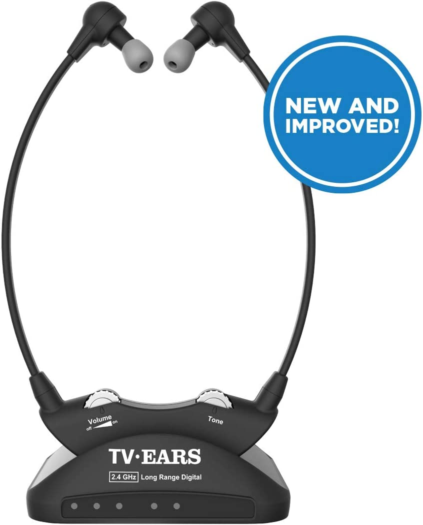 TV Ears Long Range Wireless Headset System – TV Headphone Amplifier for Hearing Impaired TV Viewers – Transmits Crystal Clear Audio up to 50 feet – Doctor Recommended Voice Clarifying Amplifier for TV