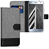 kwmobile Wallet case canvas cover for Motorola Moto X4 - Flip case with card slot and stand in grey black