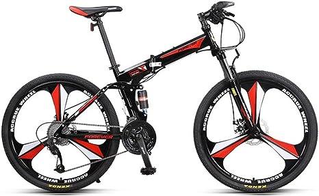 YEARLY Montaña Bicicleta Plegable, Adultos Bicicleta Plegable Off-Road Amortiguador de Choque Doble Cola Suave 27 Velocidad Shimano Bicicleta Plegable-Verde 26inch: Amazon.es: Deportes y aire libre