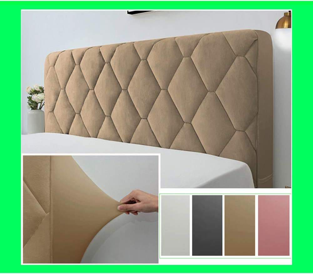 Jiyaru Headboards Cover Bed Head Cover Slipcover Protector Stretch Comfortable Backrest Cover Solid Color for Bedroom Decoration Beige 120cm