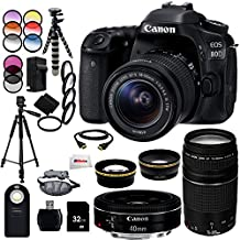 Canon EOS 80D DSLR Camera Bundle Includes Canon EF-S 18-55mm f/3.5-5.6 IS STM Lens + Canon EF 75-300mm f/4-5.6 III Lens + Canon EF 40mm f/2.8 STM Lens +0.43X Wide Angle Lens+ 32GB Memory Card & More!
