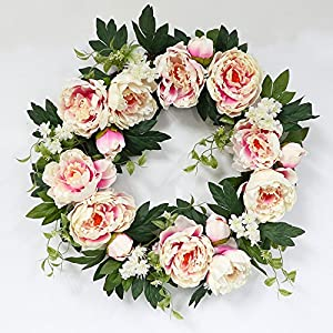 Puleo International 22-inch Artificial Pink Peony Wreath Potted Plant 3