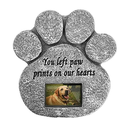 Barnyard Designs 'You Left Paw Prints On Our Hearts' Paw Print Pet Memorial Stone with Customizable Photo Slot. Loss of Pet Gift. Dog or Cat - Keepsake Trinket Heart Box