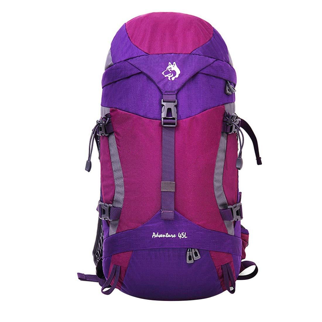 登山用バックパックウォーキングによるアウトドアスポーツに最適な防水性と耐久性のある野生のキャンプ旅行中立的な男性と女性の多機能ショルダー KAKACITY (色 : 紫の) B07SHFK8FL 紫の