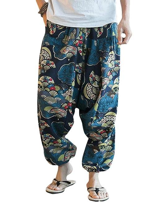 ZIXINGA Unisex Harén Aladdin Hippy Pantalones Baggy Hippie ...
