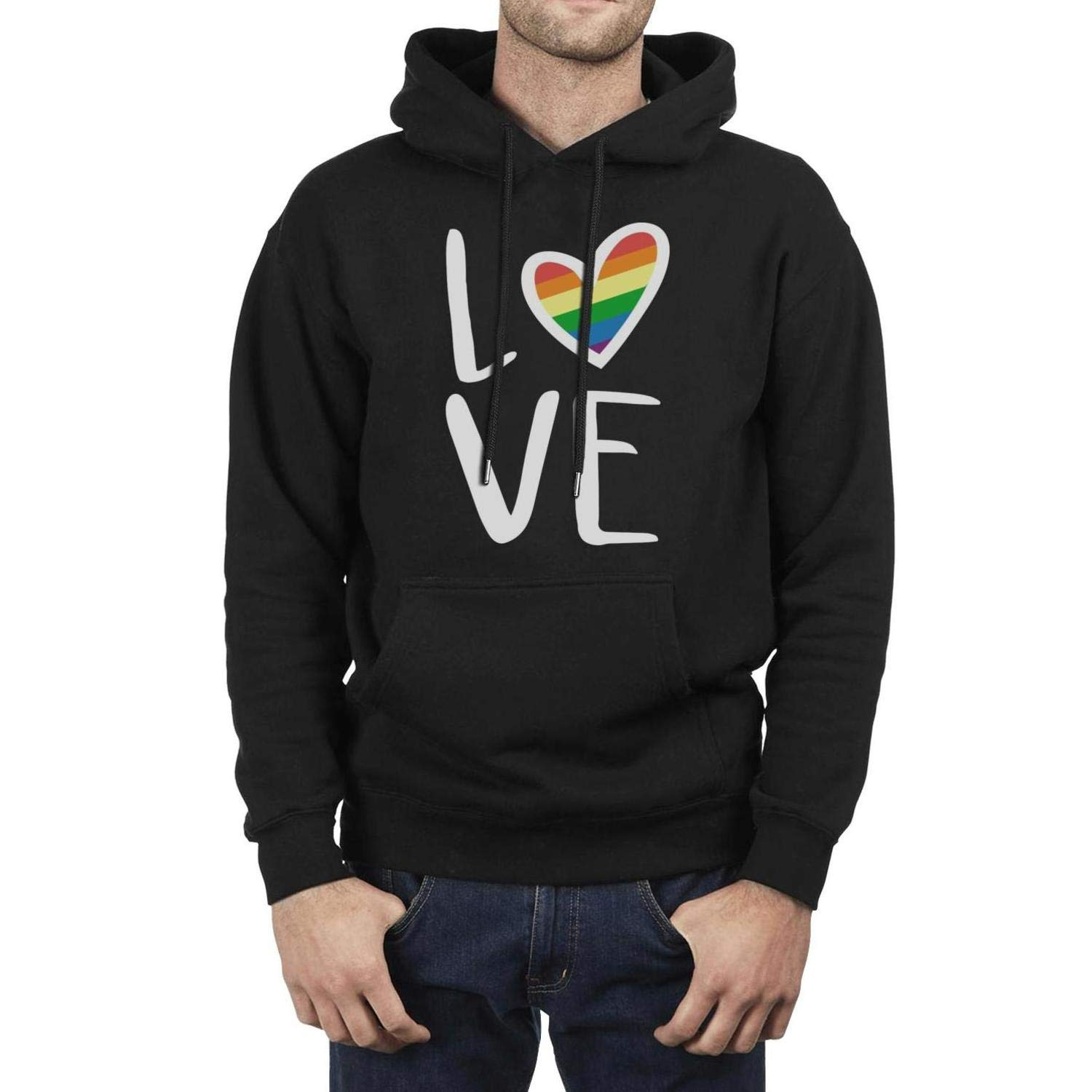 I Love You Gay Pride Gesture Male Black Hoodie Sweatshirt Fleece Printed Long Sleeve