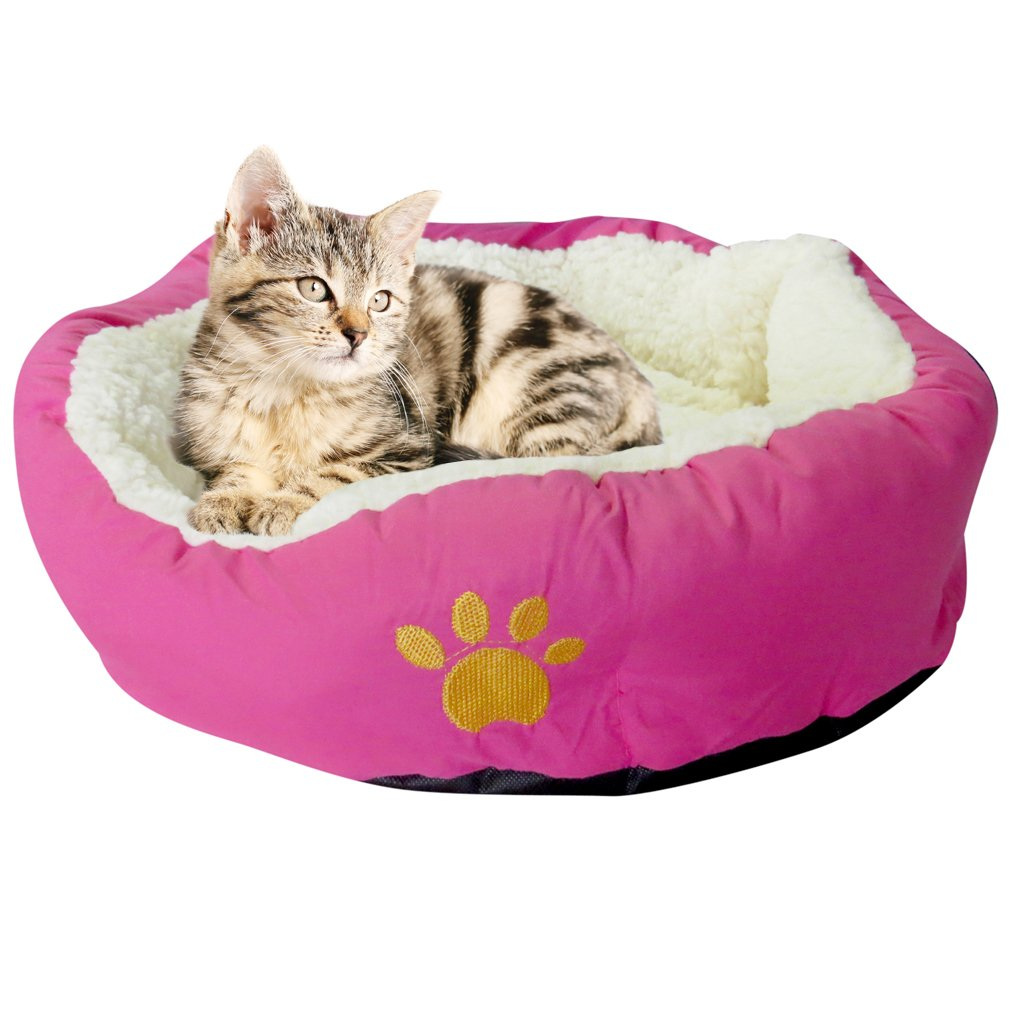 Evelots Soft Pet Bed,For Cats & Dogs, 17'' D x 5'' H, Magenta