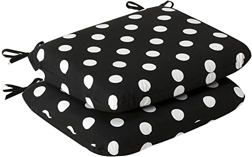 Pillow Perfect Outdoor Indoor Polka Dot Round Corner Seat Cushions, 18.5 x 15.5 , Black, 2 Pack