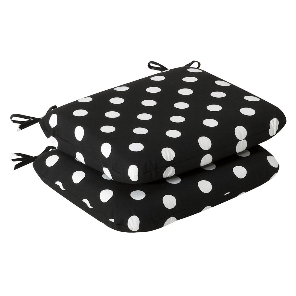 Pillow Perfect Indoor Outdoor Black White Polka Dot Seat Cushion, Rounded, 2-Pack