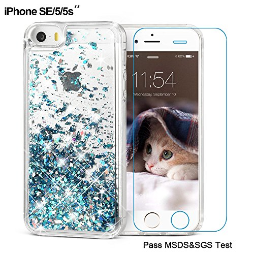 iPhone SE Case, iPhone 5/5S Case, Maxdara [ Screen Protector] Shockproof Glitter Liquid Luxury Bling Sparkle Protective Case Pretty Fashion Creative Design for Girls Children Gifts (Blue)