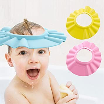 e3bc8a08884 Amazon.com   Soft Adjustable Baby Kids Children Shampoo Bath Bathing Shower Cap  Hat Wash Hair Shield 3pcs (blue