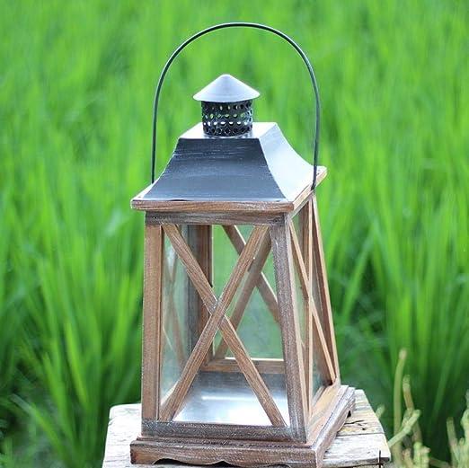 HNLHLY Faroles para Velas Candelabros de Vidrio de Madera Jardín Lámpara de Viento Decoración Candelabro Industrial Decoración Vela Linterna-Los 24X24X46CM: Amazon.es: Hogar