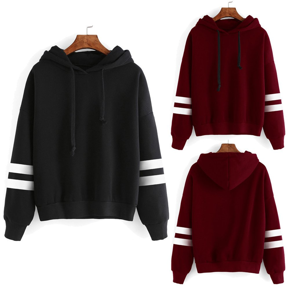 Leoie Womens Loose Hooded Sweatshirt Concise Solid Color Hoodie Long Sleeve Soft Cotton Tops at Amazon Womens Clothing store: