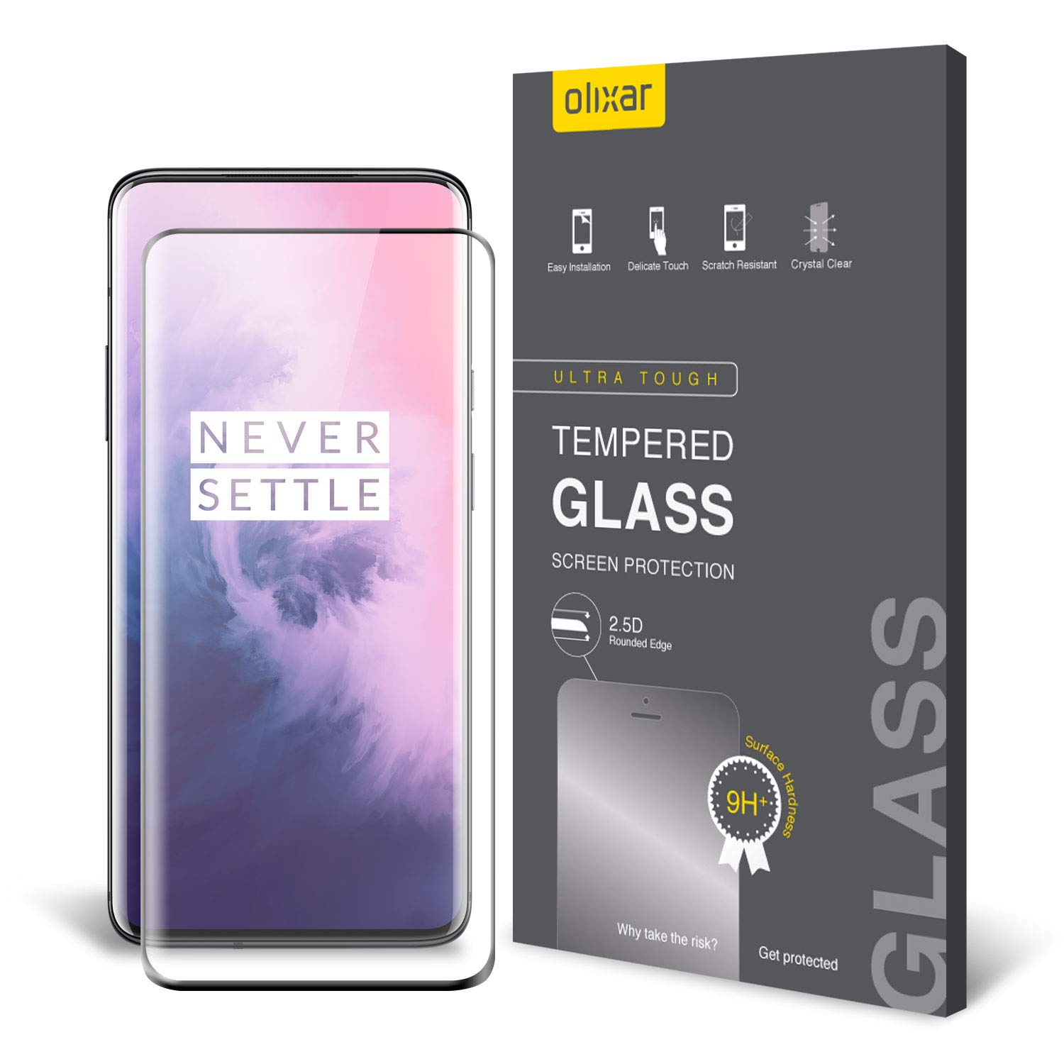 Olixar OnePlus 7 Pro Screen Protector - [Full Coverage] - Tempered Glass - 9H Rated - Shock Protection - Easy Application, Card and Cleaning Cloth Included - Black