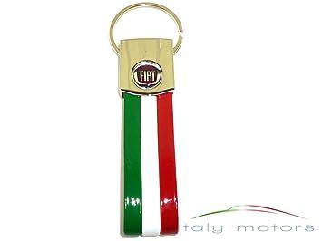 Fiat- Llavero (acero cromado), diseño de la bandera italiana y logotipo de Fiat: Amazon.es: Coche y moto