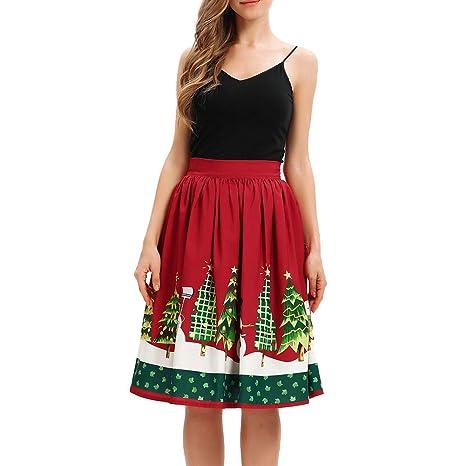 CoURTerzsl Vestido, Árbol de Navidad Muñeco de Nieve Estampado ...