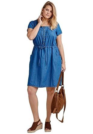 Ellos Womens Plus Size Denim Drawstring Dress At Amazon Womens