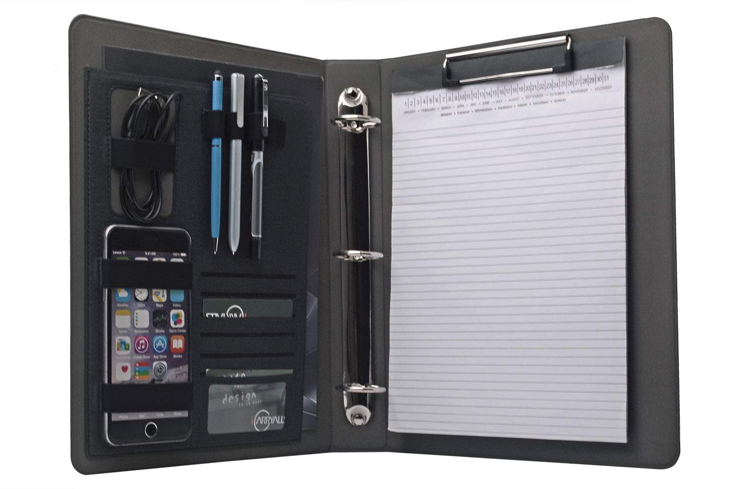 3 Ring Binder Portfolio Organizer, Business Padfolio with 1.5 inches 3-Ring Binder for Letter Size A4 Notepad Papers