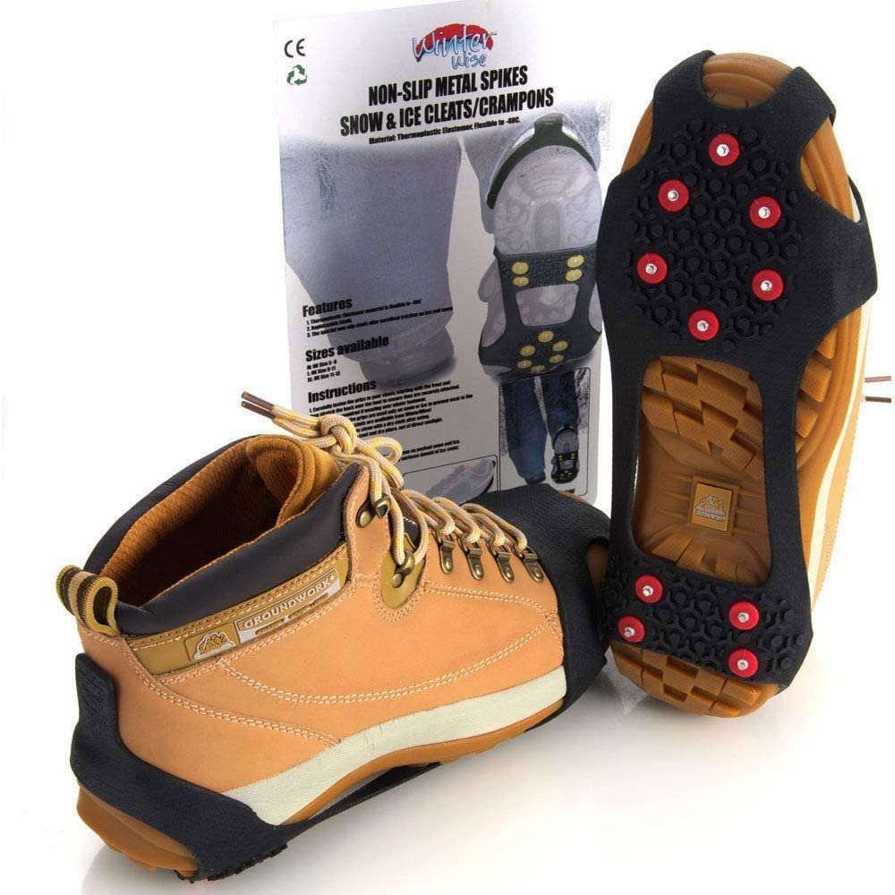 Ice Grippers Snow Grips Winter Shoes Boots Straps Metal Spikes Studs Universal