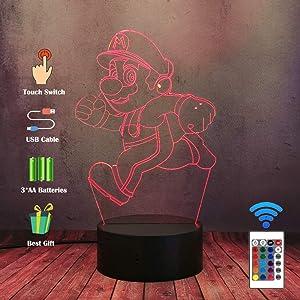 Cartoon Anime 3D LED Kid Night Light, Lava Cool Mario Game Running Desk Table Lamp, 16 Color Novelty Bedroom Lighting Child Baby Old Man Sleep Lamp, Bar Cafe Office Creative Decor Xmas Lamp