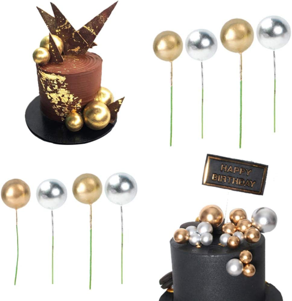 16 pcs Gold Silver Pearl Balls Cake Pick DIY Cake Insert Topper Card Gift Cup Cake Paper Toothpick Party Wedding Birthday Cake Decoration