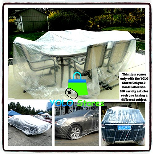YOLO Stores Car Cover/Patio Furniture Covers XLarge Universal Clear Plastic Cover, Table, Chairs, Seat, Full Size Dust Protection, e-Book Included by YOLO Stores