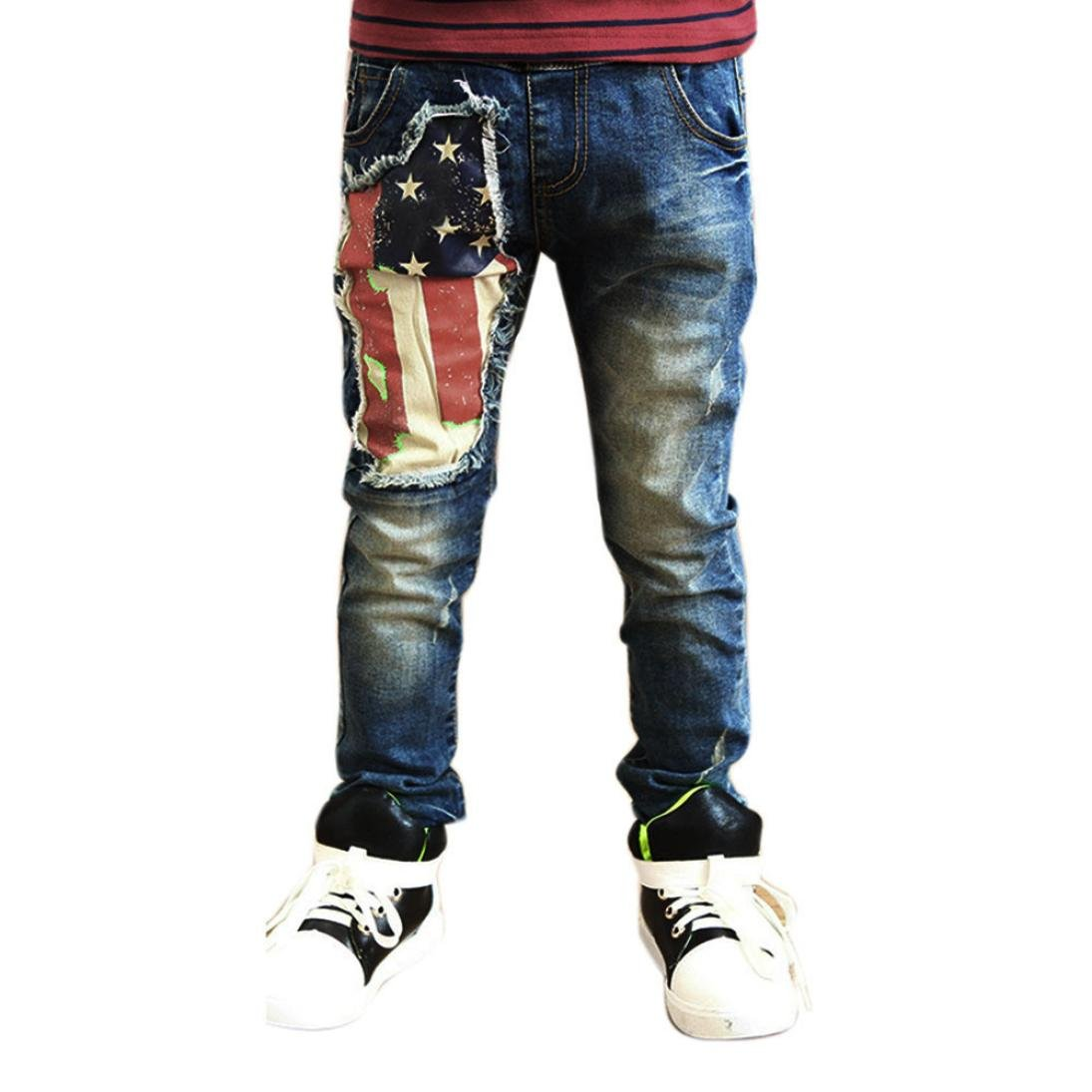 Clode® For 2-7 Years Old Boys, Baby Kids Boys Printing Zipper Stretch Jeans Pants Elastic Waist Denim Trousers Clode-Boys Clothing -T02