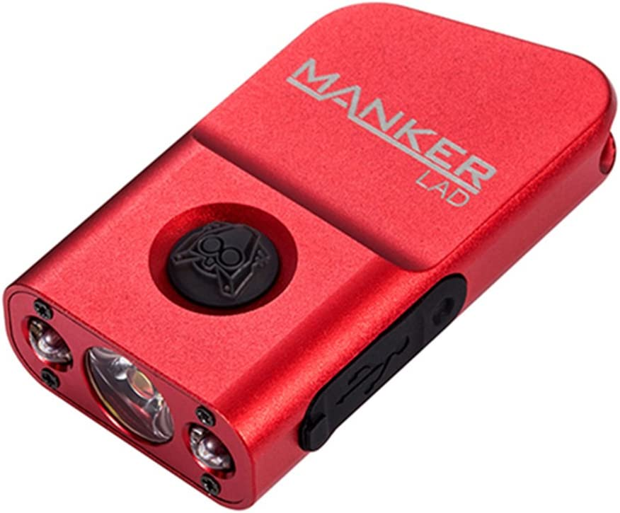 This is an image of a red mini Manker keychain flashlight.