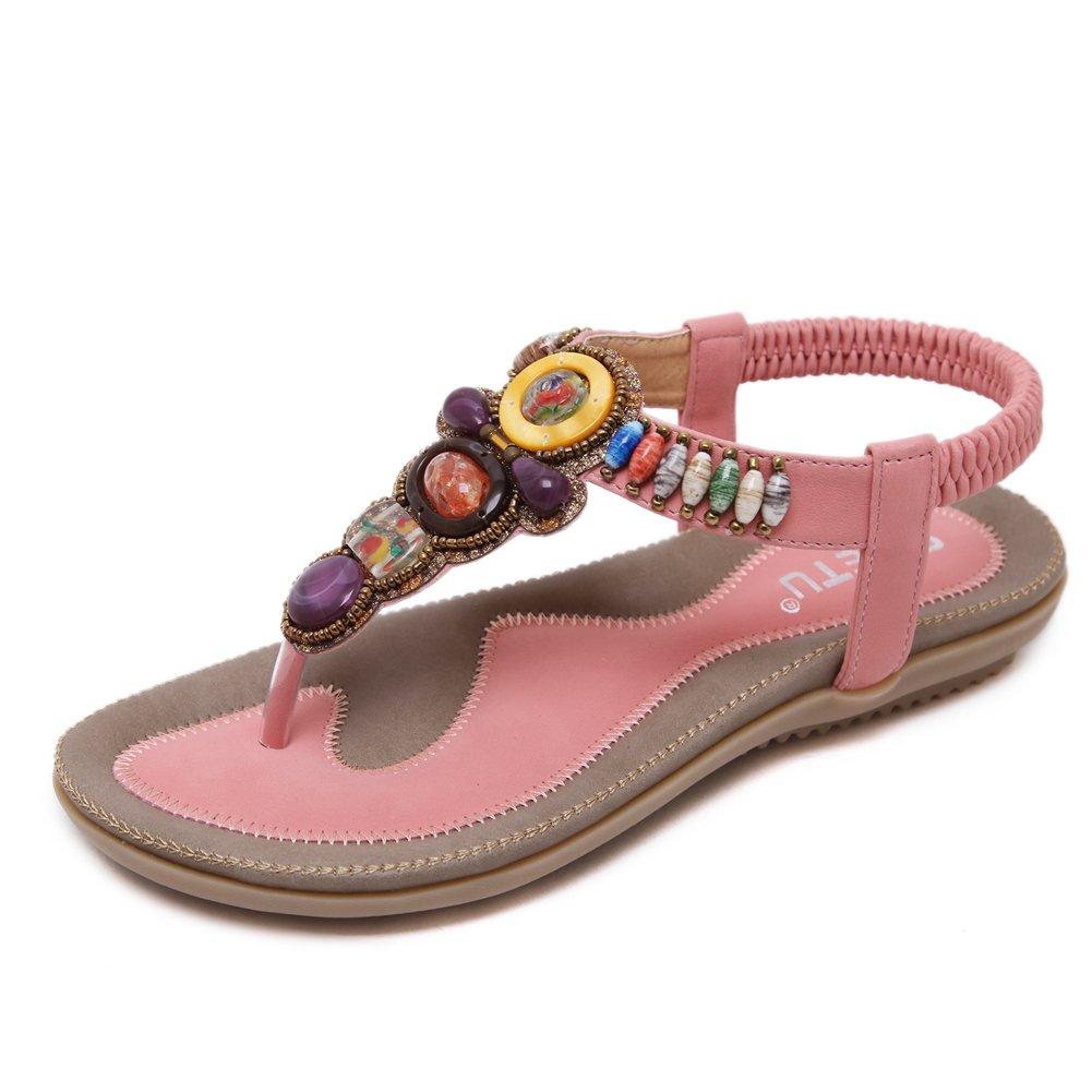 Super Lee Damen Zehentrenner Sandalen Bohemian Strass Flach Sandaletten Sommer Strand Schuhe in Grouml;szlig;e 35-44  44 EU|Pink