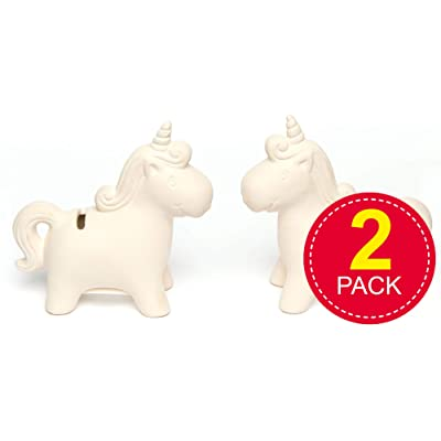 Baker Ross Unicorn Piggy Banks, Ceramic Coin Banks For Kids To Decorate for Arts and Crafts (Pack of 2): Home & Kitchen
