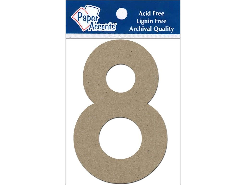 Accent Design Paper Accents ADP49324 4 8 2 Piece Natural Chipboard Chip Numbers