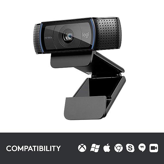 Logitech C920 cámara Web 1920 x 1080 Pixeles USB 2.0 Negro - Webcam (1920 x 1080 Pixeles, 1080p,720p, H.264, 15 MP, USB 2.0, Negro)
