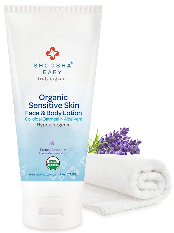 SHOOSHA Baby Lotion, 6 oz Organic Baby Lotion w/Bonus Washcloth, Organic Baby Skin Care, Baby Face Cream, Natural Baby Body Lotion & Baby Cream for Sensitive Skin, Lavender Lotion w/Calendula Oil