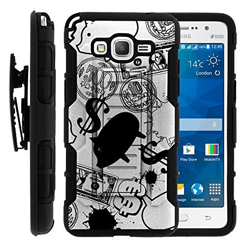 Piggy Bank Icon (Samsung Galaxy Grand Prime Case, Swivelling Belt Clip, Full Body Hybrid High Impact Armor w/ Kickstand and Customized Designs for Samsung Galaxy Grand Prime SM-G530 by MINITURTLE - Piggy Bank)