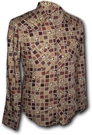 Chenaski 70s Retro Camisa Cowboy Patchwork Rojo, 70s: Amazon ...