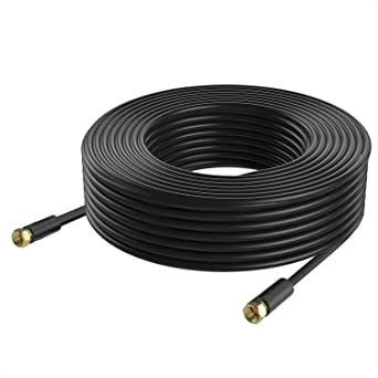 Coaxial Cable Postta Triple Blindado Digital RG6 Cable de Antena con Conector F-Macho Pin-Negro