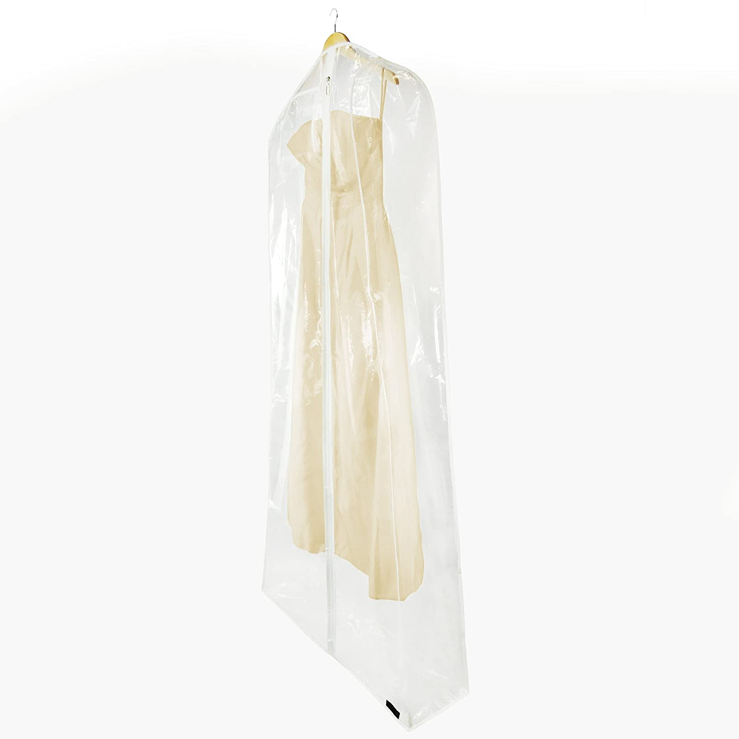 HANGERWORLD 3 Clear 72inch Showerproof Wedding Dress Ball Gown Garment Cover Bags with Extra Wide 10inch Gusset