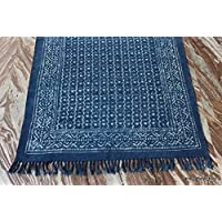 Handicraftofpinkcity Home Decor Indigo Blue Print Rug Woven Cotton Carpet Bohemian Printed Dari sheet