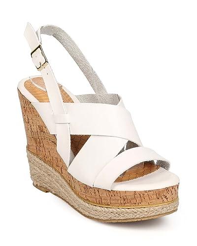 d25a46563de5 Women Leatherette Open Toe Criss Cross Cork Espadrille Wedge EE91 - White  (Size  8.5