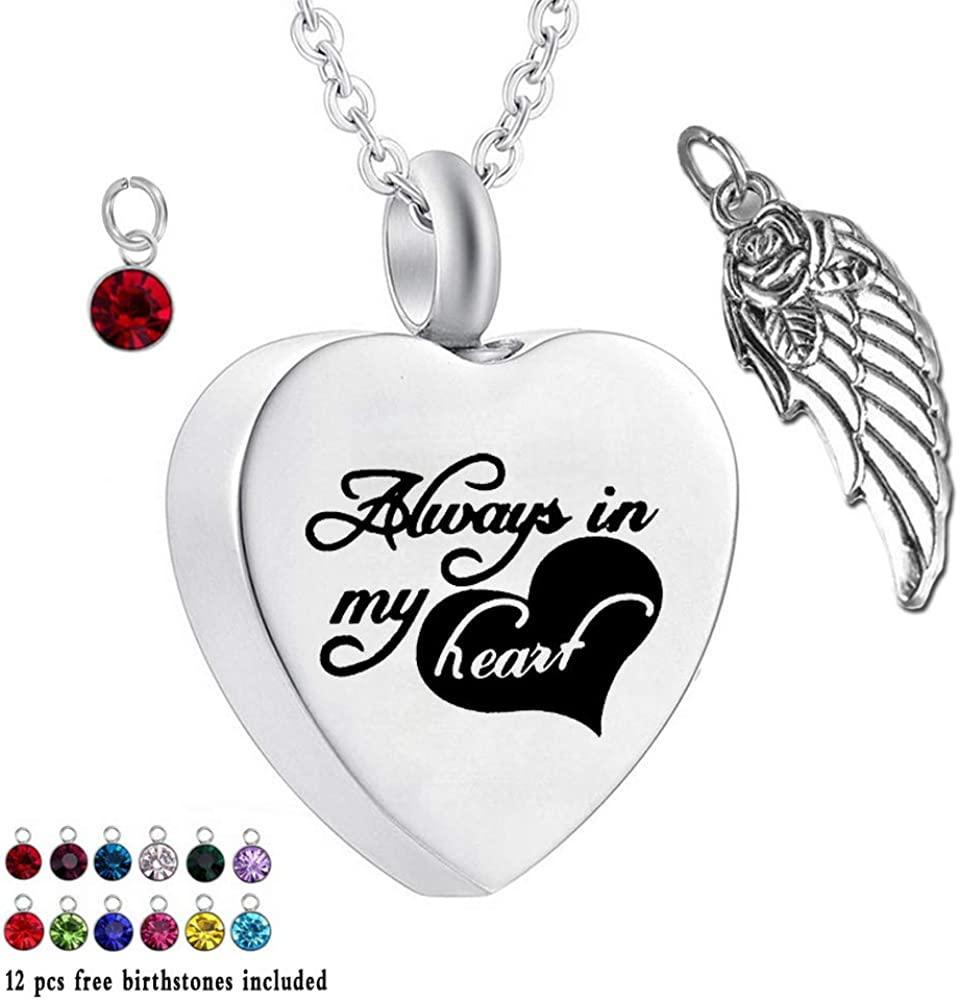 I Love You to The Moon /& Back misyou Heart Necklace Memorial Jewelry Stainless Steel Ashes Cremation Urn Pendant 3 Styles